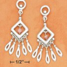 Sterling silver and pink Rhodochrosite dangle earrings