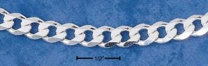 Men's Sterling Silver 8mm Curb chain 9 inch bracelet