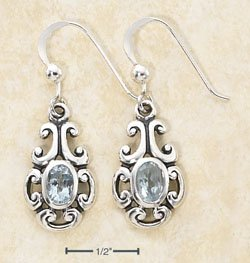 Vintage Type Sterling Silver Blue Topaz Scroll Earrings