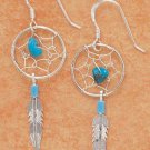 Pretty sterling silver Dreamcatcher earrings with genuine turquoise nuggets