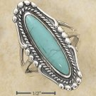 Sterling Silver ring with a large oval Turquoise stone size 10