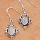 Sterling Silver oval genuine Moonstone Earrings