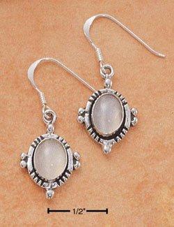 Sterling Silver oval genuine Moonstone Earrings