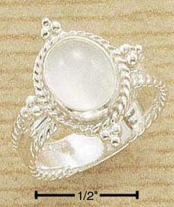 Fancy Sterling Silver ring with genuine large Moonstone size 6