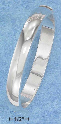 Sterling Silver Oval Hinged Bangle Bracelet 9mm wide