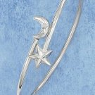 Sterling Silver Adjustable Bangle Bracelet with Moon and Star