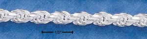 Sterling Silver 4mm Diamond cut Rope chain 20 inch necklace