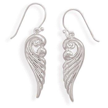 Fancy Sterling Silver Angel Wing Earrings