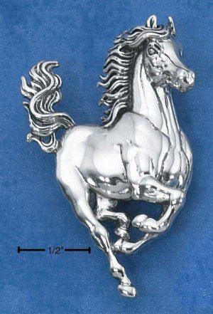 Sterling Silver Large Galloping Horse Pin and Pendant