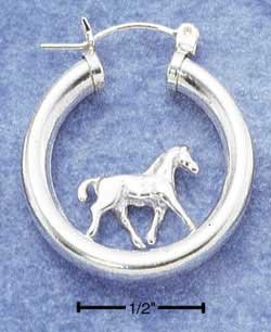 Pretty Sterling Silver Horses Hoop earrings