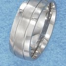 Stainless Steel 8mm Wedding Band with Brushed finish Center Stripe size 13