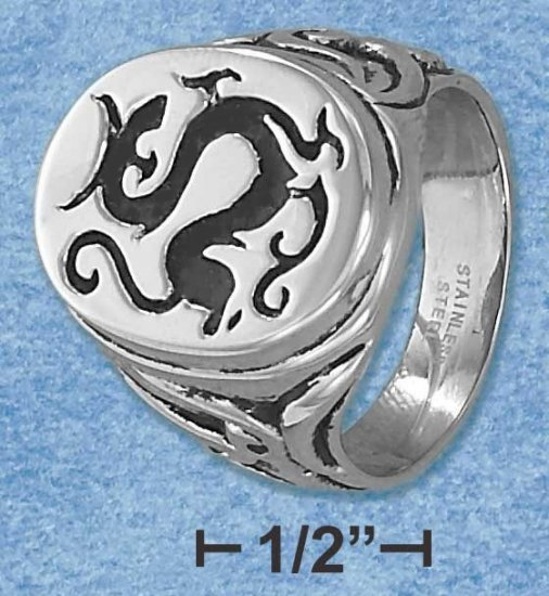 Mens Stainless Steel Dragon Signet Ring size 12
