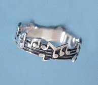 Cute Sterling Silver Music Notes Musical Ring Size 9