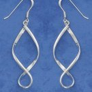 Sterling Silver Long Twisted Hoop earrings