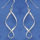 Sterling Silver Long Twisted Hoop earrings