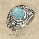 Sterling Silver Mens Turquoise Aztec design ring size 12