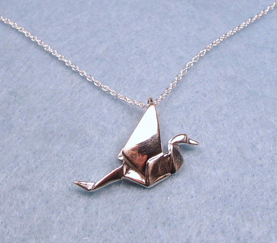 Origami Peace Crane Necklace - Sterling Silver