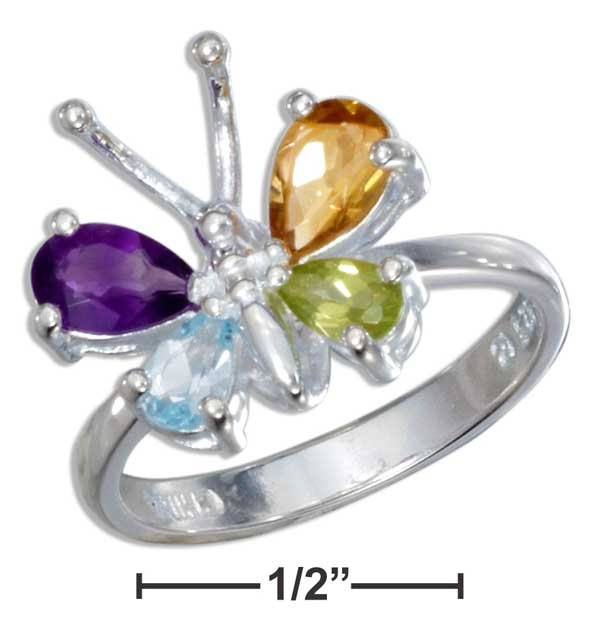 Sterling Silver Butterfly ring with multiple gemstones size 8