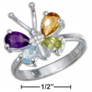 Sterling Silver Butterfly ring with multiple gemstones size 9