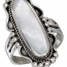 Sterling Silver ring with a large oval Mother of Pearl stone inset size 10