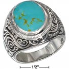 Sterling Silver Mens Turquoise ring size 12