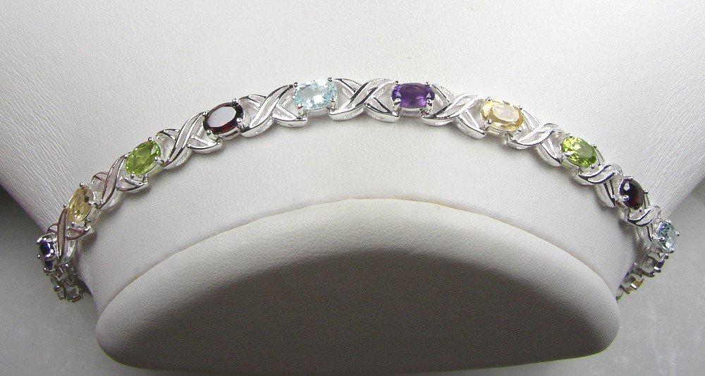 Elegant Sterling Silver 7.5 inch Bracelet with 14 genuine gemstones
