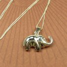 Cute Puffy Elephant sterling silver 3-D Charm and Necklace