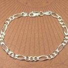 Italian Sterling Silver 8 inch Figaroa Chain Unisex Bracelet