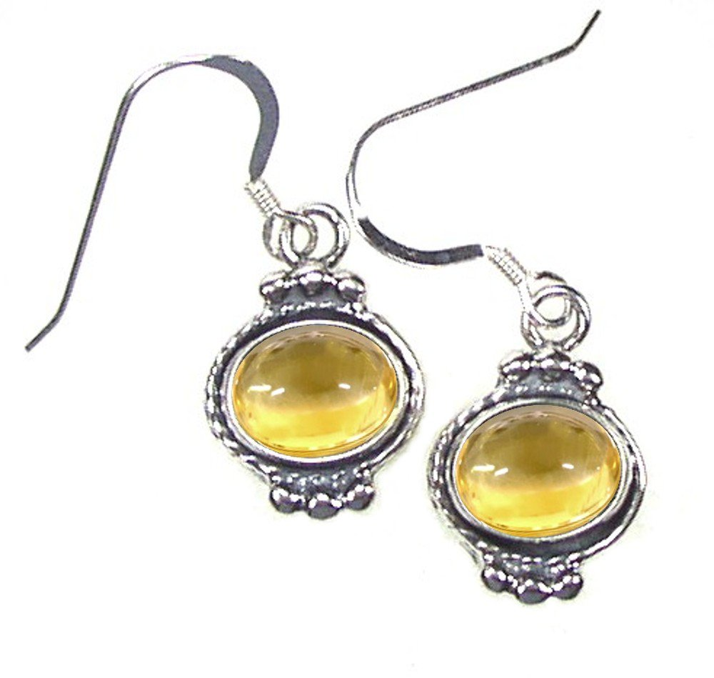 Sterling Silver Oval Yellow Citrine Earrings with a beaded design