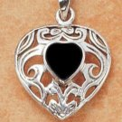 Sterling Silver and Black Onyx Heart Pendant