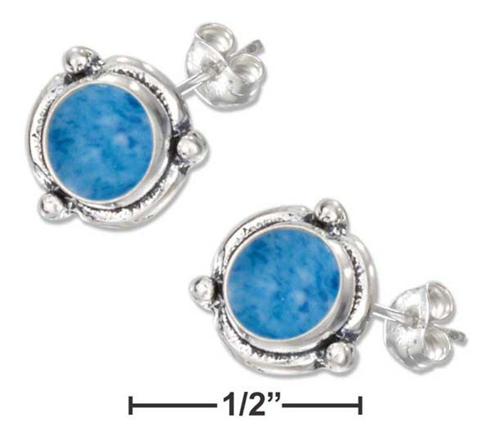 Stylish Sterling Silver Denim Blue Lapis Post Earrings