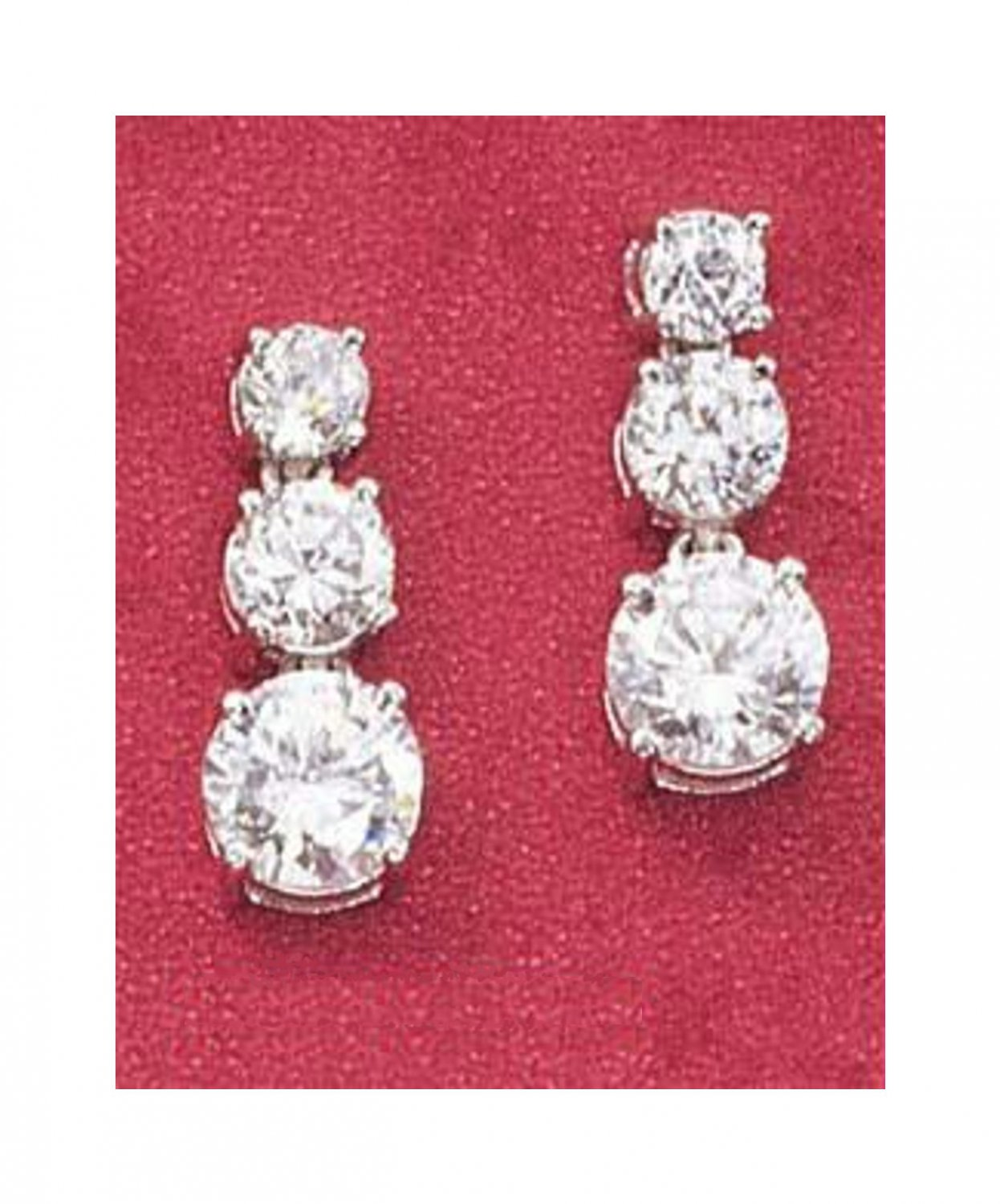 Sterling Silver 3 Stone CZ Cubic Zirconia Earrings Past, Present and Future