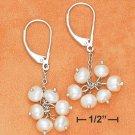 Pretty Sterling Silver Fresh Water White Pearl Cluster Earrings