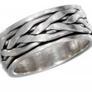 Sterling Silver Spinner Ring with a braided design in Size 8