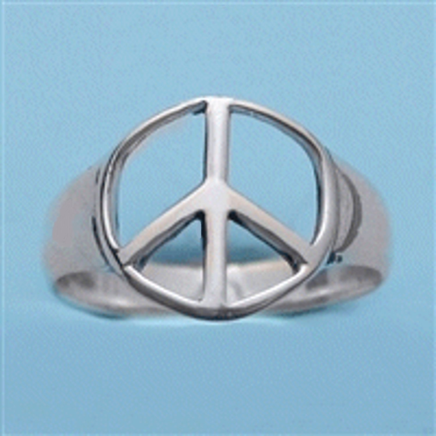 Sterling Silver Peace Symbol Ring Size 6