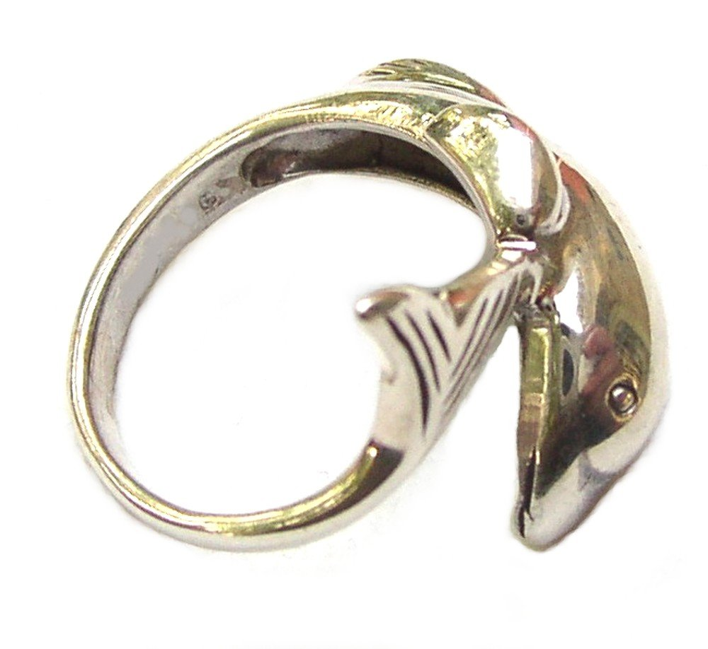 Awesome Sterling Silver Dolphin Wrap Ring Size 8
