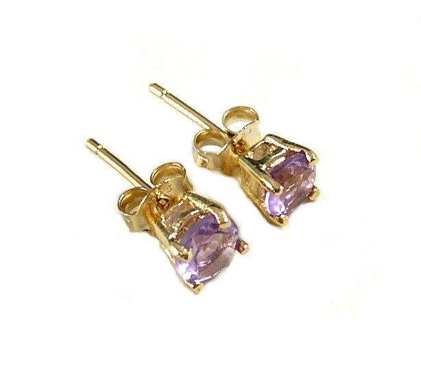 Amethyst gemstone Gold Vermeil post earrings