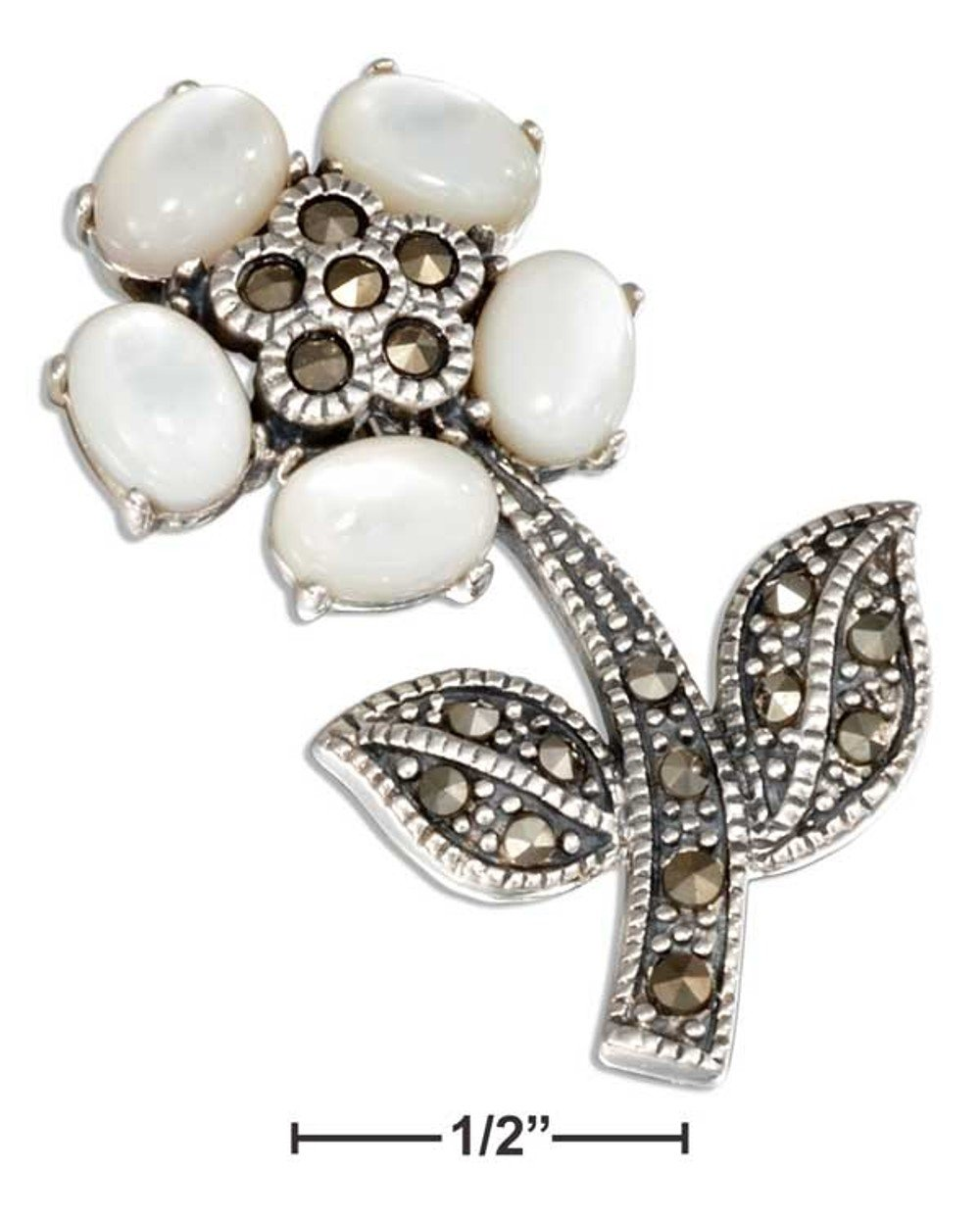 Beautiful Sterling Silver Marcasite Flower Pin with Mother of Pearl Petals