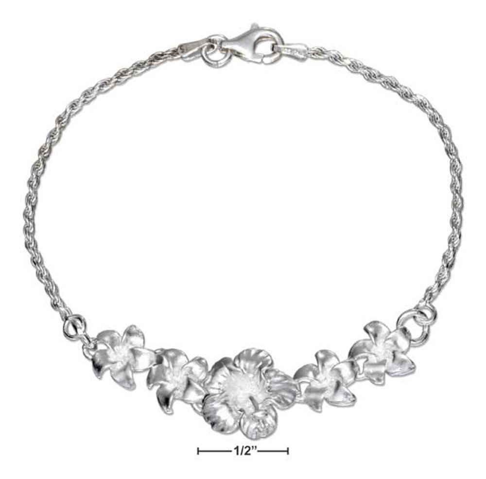 Sterling Silver Plumeria Flower Bracelet 7 inches