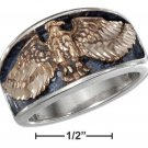 Sterling Silver Men's ring with a Bronze Eagle size 13