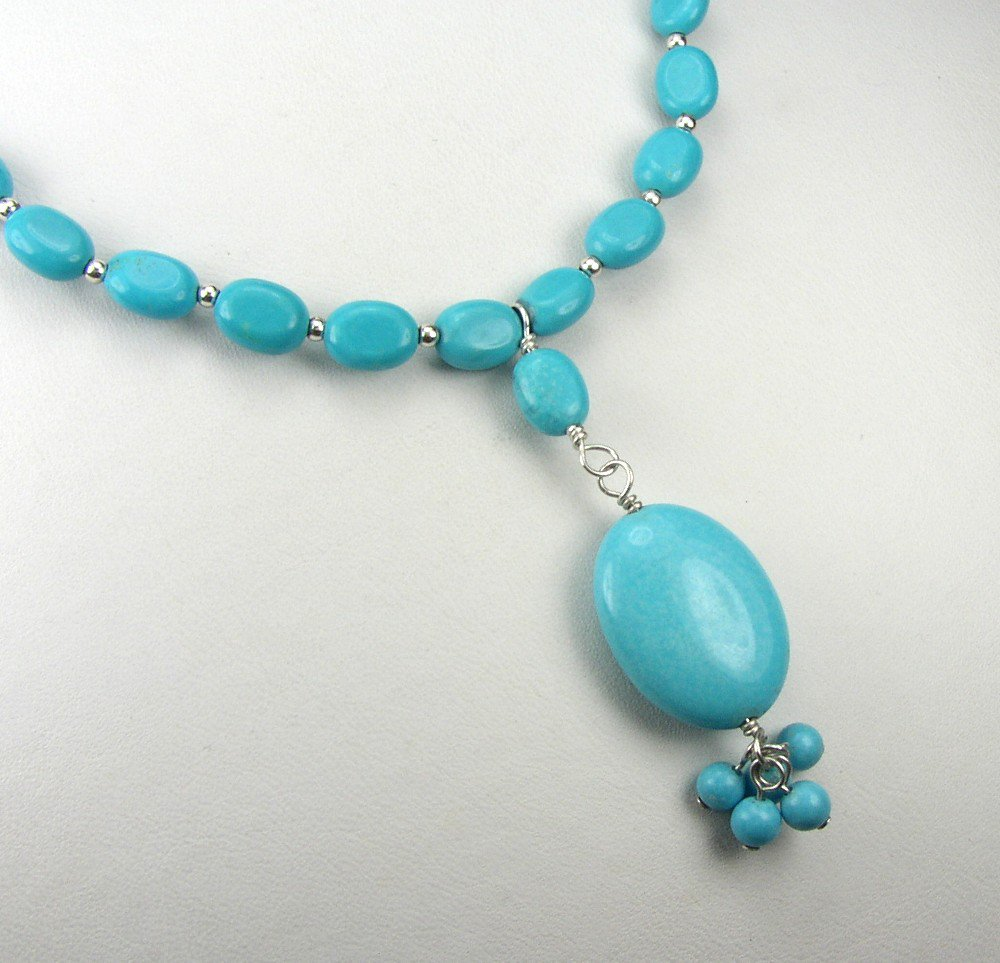 Beautiful Sterling Silver and genuine Turquoise 16 inch Necklace