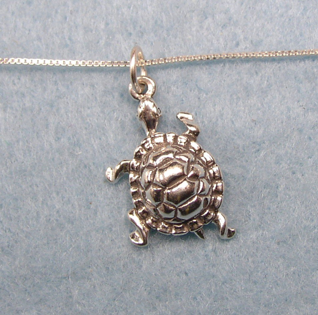 Cute sterling silver three dimensional Turtle Charm and chain