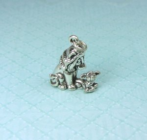 Sterling silver three dimensional Lion and lamb Charm