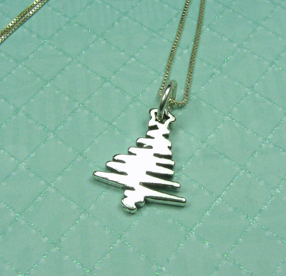 Sterling Silver Christmas Tree Pendant / Charm and chain necklace