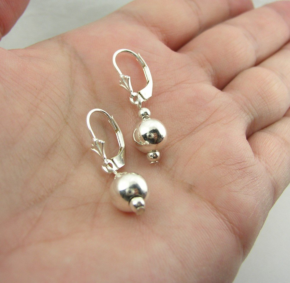 Sterling Silver Highly Polished Round Bead Leverback Earrings