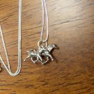Too Cute Sterling Silver Mother Horse and colt necklace