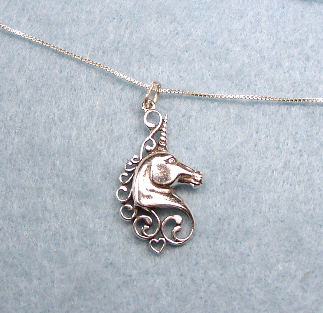 Exquisite sterling silver Unicorn charm and Necklace