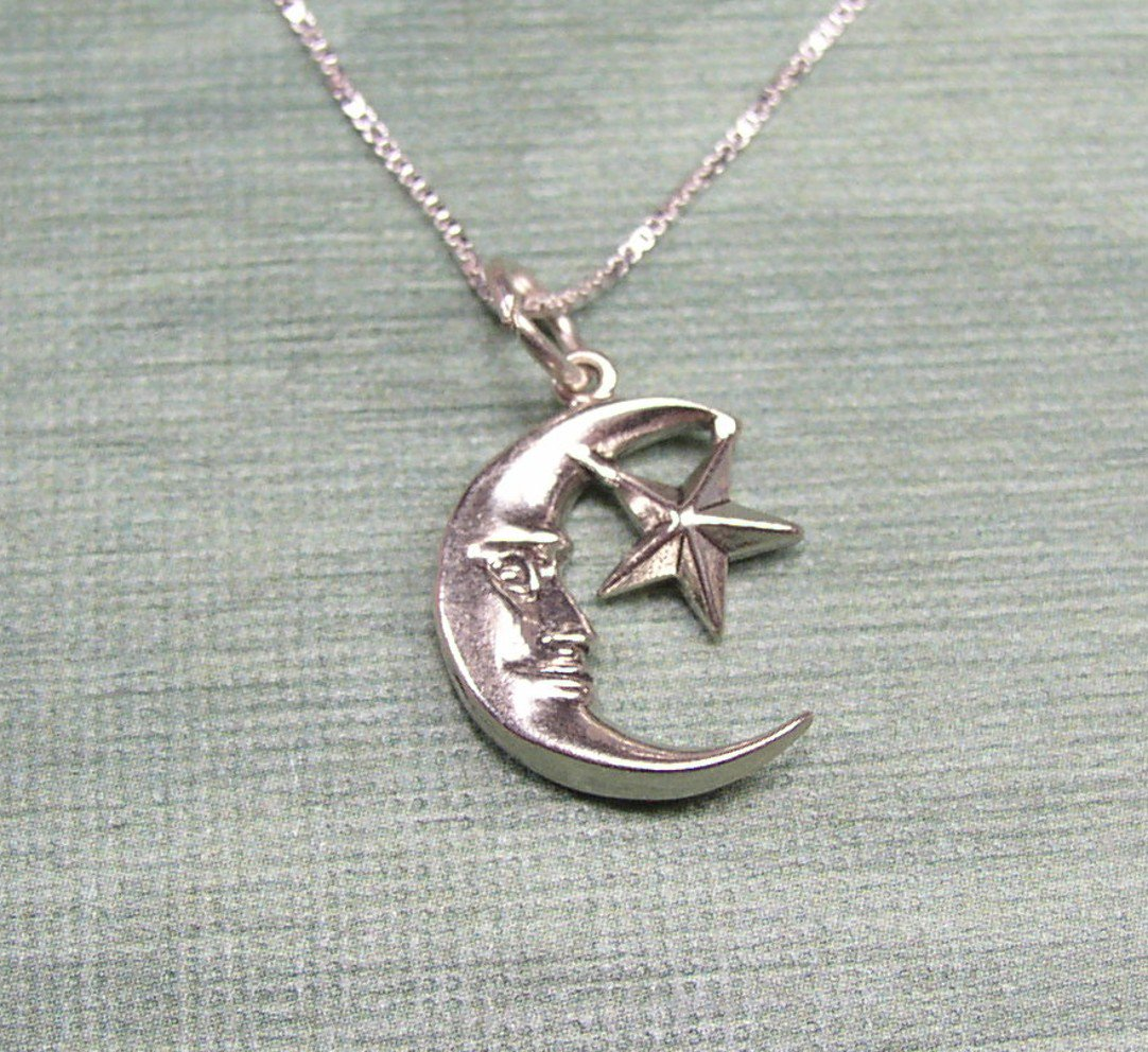 Sterling Silver Moon and Star Necklace