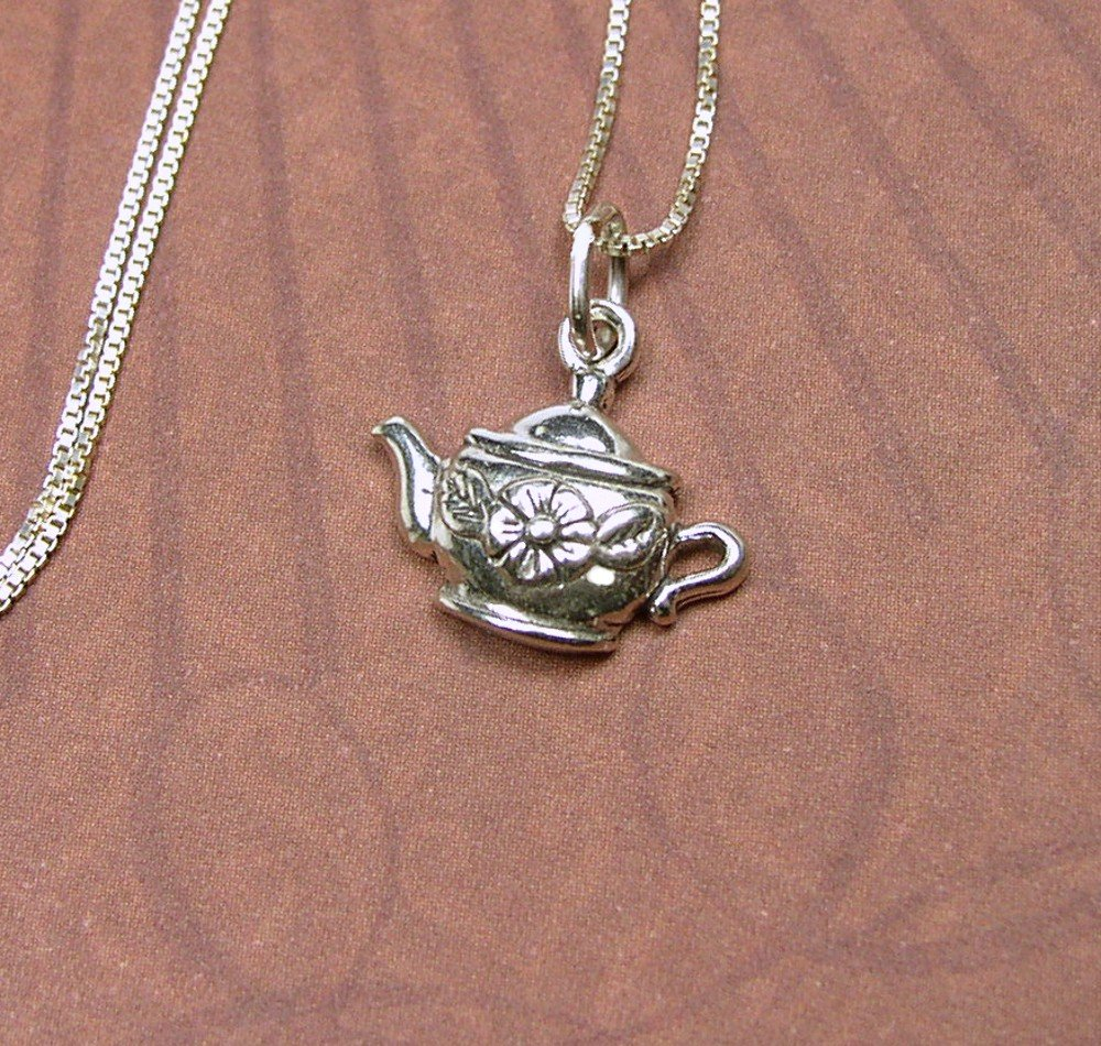 Sterling Silver Teapot charm with flower design and chain Necklace