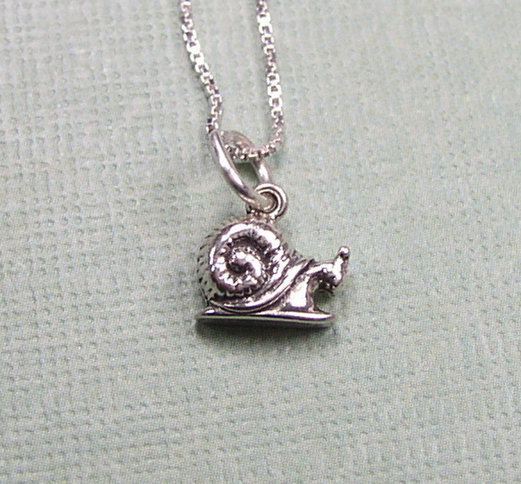 Sterling Silver Snail Charm Pendant and Chain